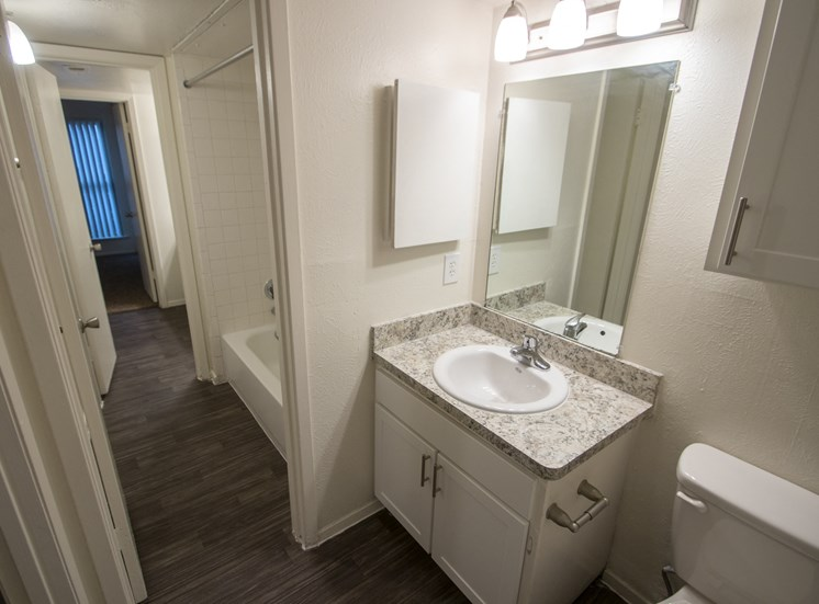 This is a photo of the bathroom of the 864 square foot 2 bedroom apartment at The Biltmore Apartments in Dallas, TX.