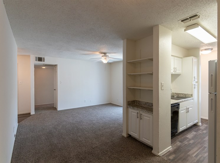 This is a photo of the dining area in the 870 square foot 2 bedroom apartment at Gateway Place Apartments in Garland, TX.