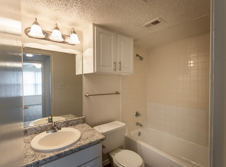 This is a photo of the bathroom in the 870 square foot 2 bedroom apartment at Gateway Place Apartments in Garland, TX.