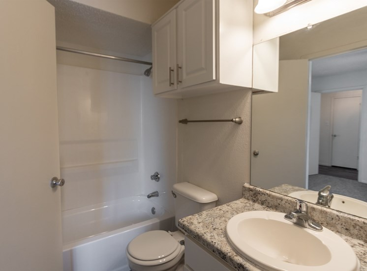 This is a photo of the master bathroom in the 870 square foot 2 bedroom apartment at Gateway Place Apartments in Garland, TX.
