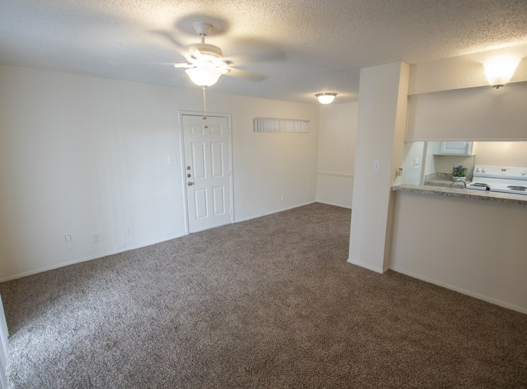 This is a photo of the living room in the 690 square foot 1 bedroom apartment at Gateway Place Apartments in Garland, TX.