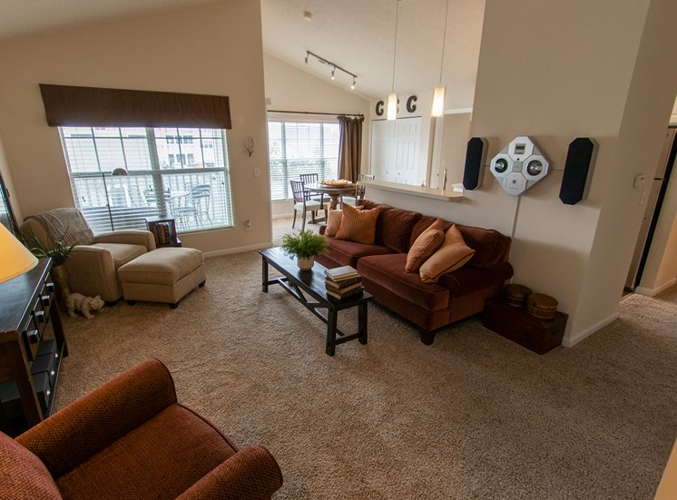 This is a photo of the living room in the 1016 square foot, 2 bedroom Nautica floor plan at Nantucket Apartments in Loveland, OH.