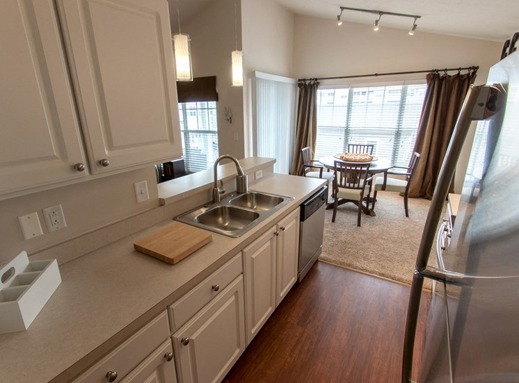 This is a photo of the kitchen in the 1016 square foot, 2 bedroom Nautica floor plan at Nantucket Apartments in Loveland, OH.