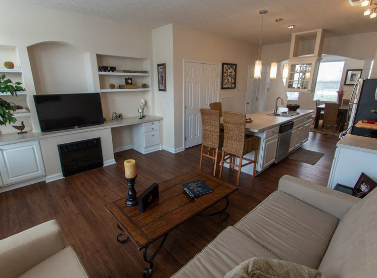 This is a photo of the living room in the 1242 square foot, 2 bedroom Spinnaker floor plan at Nantucket Apartments in Loveland, OH.