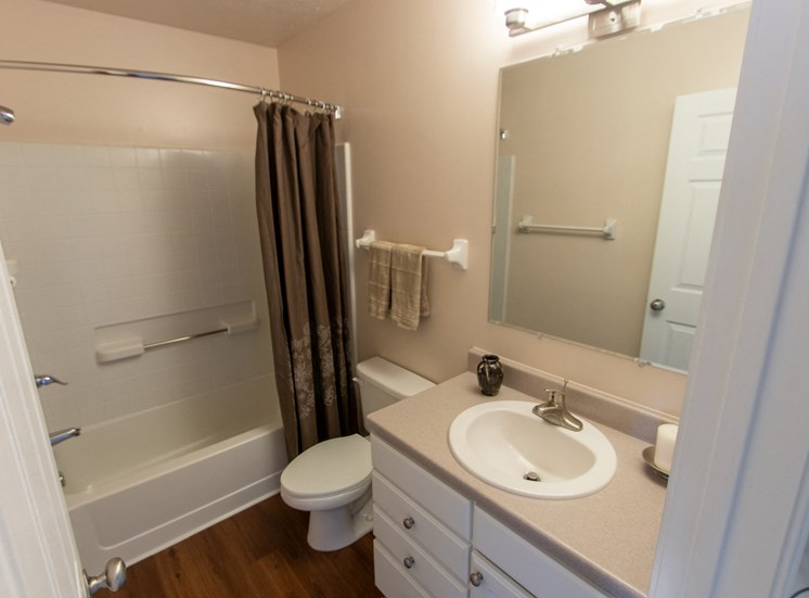 This is a photo of the bathroom in the 1242 square foot, 2 bedroom Spinnaker floor plan at Nantucket Apartments in Loveland, OH.
