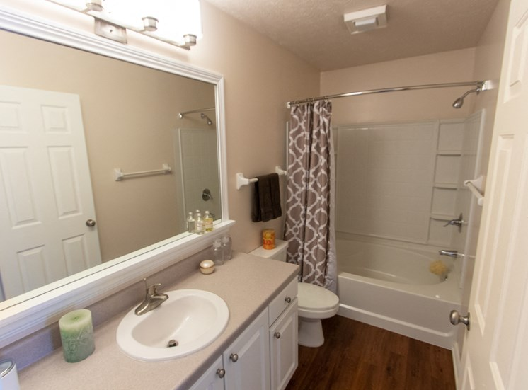 This is a photo of the master bathroom in the 1242 square foot, 2 bedroom Spinnaker floor plan at Nantucket Apartments in Loveland, OH.