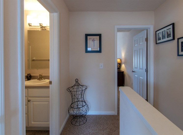 This is a photo of the upstairs hallway in the 1242 square foot, 2 bedroom Spinnaker floor plan at Nantucket Apartments in Loveland, OH.