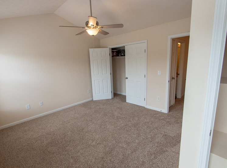 This is a photo of the second bedroom in the 1242 square foot, 2 bedroom Spinnaker floor plan at Nantucket Apartments in Loveland, OH.