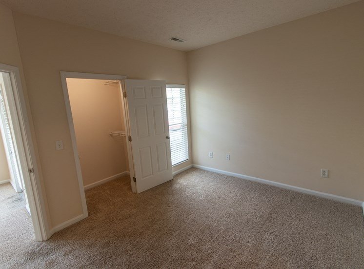 This is a photo of the bedroom in the 563 square foot, 1 bedroom Catamaran floor plan at Nantucket Apartments in Loveland, OH.
