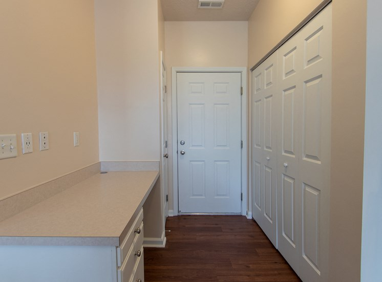 This is a photo of the closet with full-size washer/dryer connections and pantry in the 1578 square foot, 3 bedroom Flagship floor plan at Nantucket Apartments in Loveland, OH.