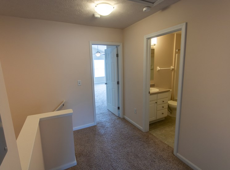 This is a photo of the second floor hallway in the 1578 square foot, 3 bedroom Flagship floor plan at Nantucket Apartments in Loveland, OH.