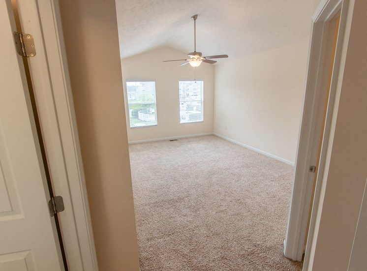 This is a photo of the master bedroom in the 1578 square foot, 3 bedroom Flagship floor plan at Nantucket Apartments in Loveland, OH.