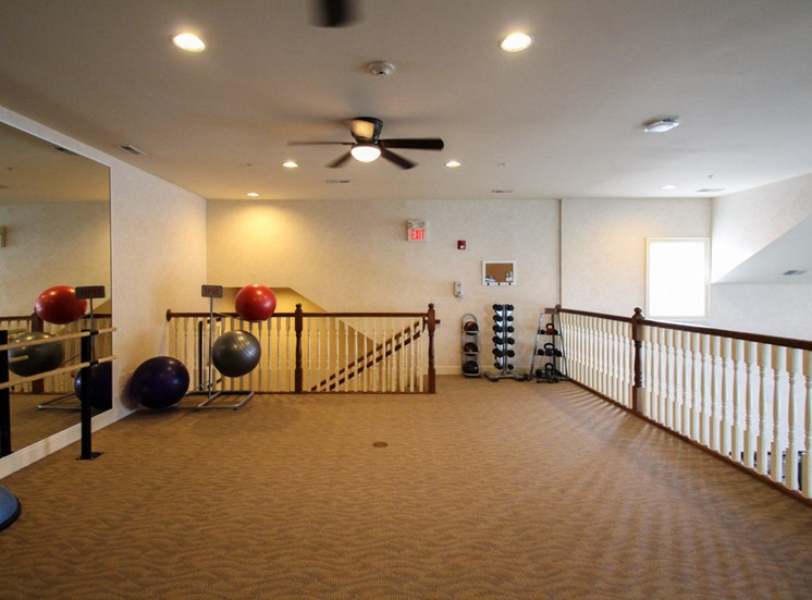 This is a photo of the yoga/dance room in the Fitness Center at Nantucket Apartments in Loveland, OH.