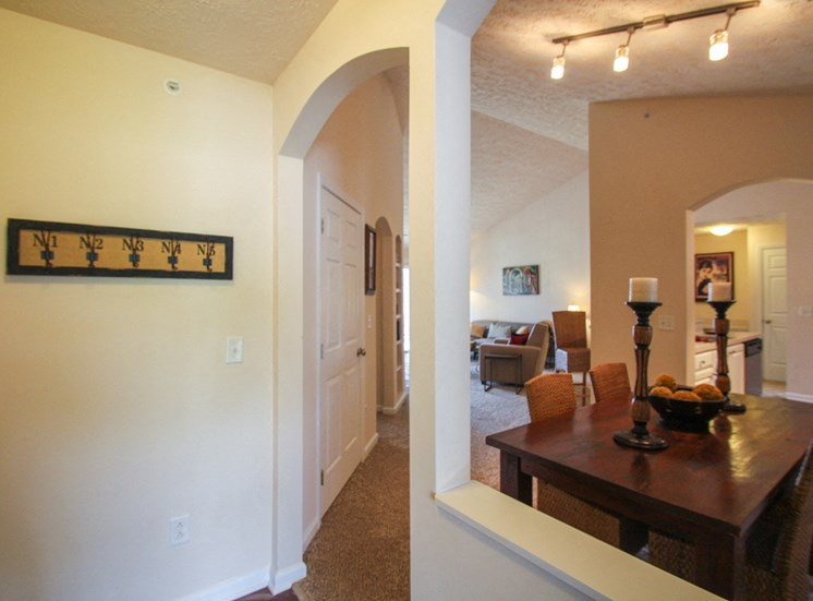 This is a photo of the entryway/dining room in the 2 bedroom Atlantic floor plan at Nantucket Apartments in Loveland, OH.