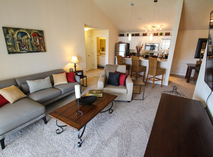 This is a photo of the living room in the Atlantic floor plan at Nantucket Apartments in Loveland, OH.