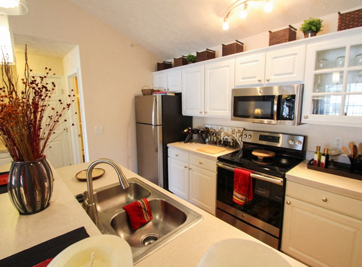 This is a photo of the kitchen in the 2 bedroom Atlantic floor plan at Nantucket Apartments in Loveland, OH.