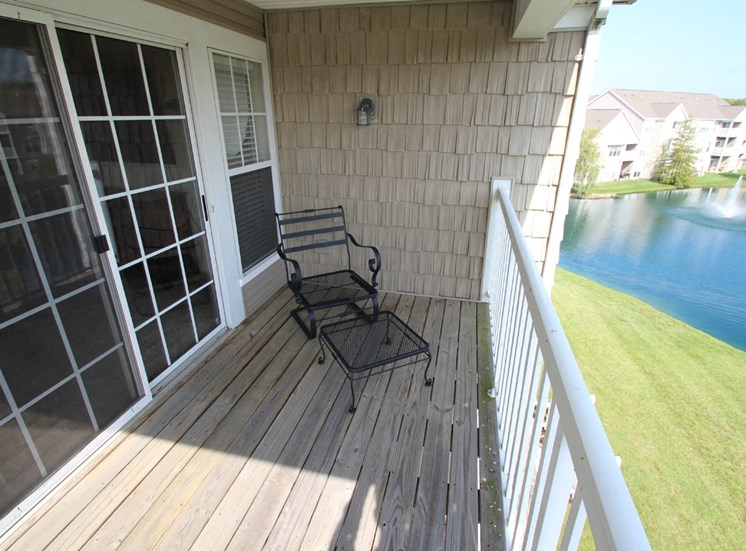 This is a photo of the balcony in the 2 bedroom Atlantic floor plan at Nantucket Apartments in Loveland, OH.