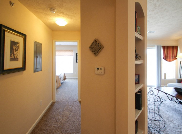This is a photo of the a built-in bookshelf in the 2 bedroom Atlantic floor plan at Nantucket Apartments in Loveland, OH.
