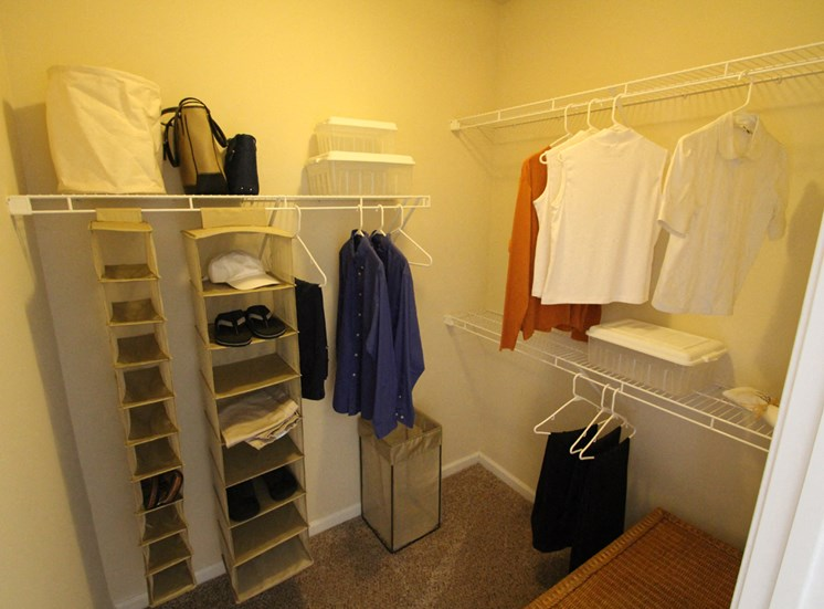 This is a photo of the walk-in closet of the master second in the 2 bedroom Islander floor plan at Nantucket Apartments in Loveland, OH.