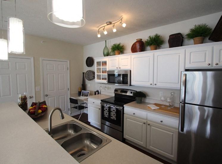 This is a photo of the kitchen in the 2 bedroom Islander floor plan at Nantucket in Cincinnati Ohio