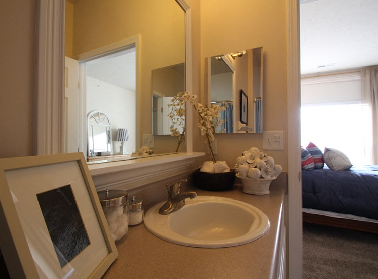 This is a photo of the full bathroom in the 2 bedroom Islander floor plan at Nantucket Apartments in Loveland, OH.