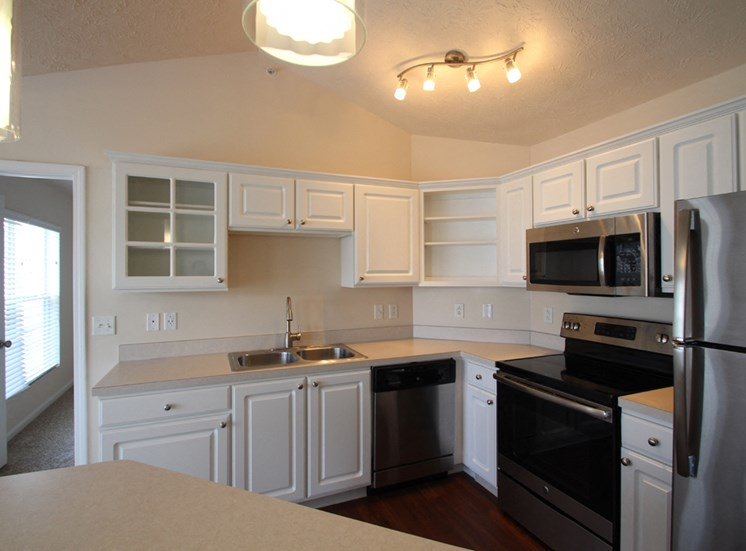This is a photo of the kitchen area in the 1 bedroom Patriot floor plan at Nantucket Apartments in Loveland, OH.