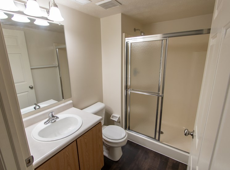 This is photo of the master bathroom in the 1056 square foot, 2 bedroom Gainsway floor plan at Trails of Saddlebrook Apartments in Florence, KY.