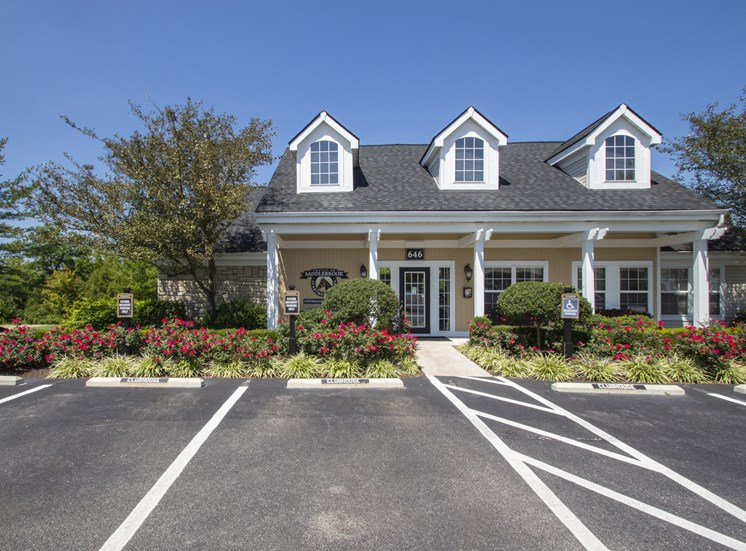 This is a photo of the resident clubhouse/Leasing Office exterior at Trails of Saddlebrook Apartments in Florence, KY.