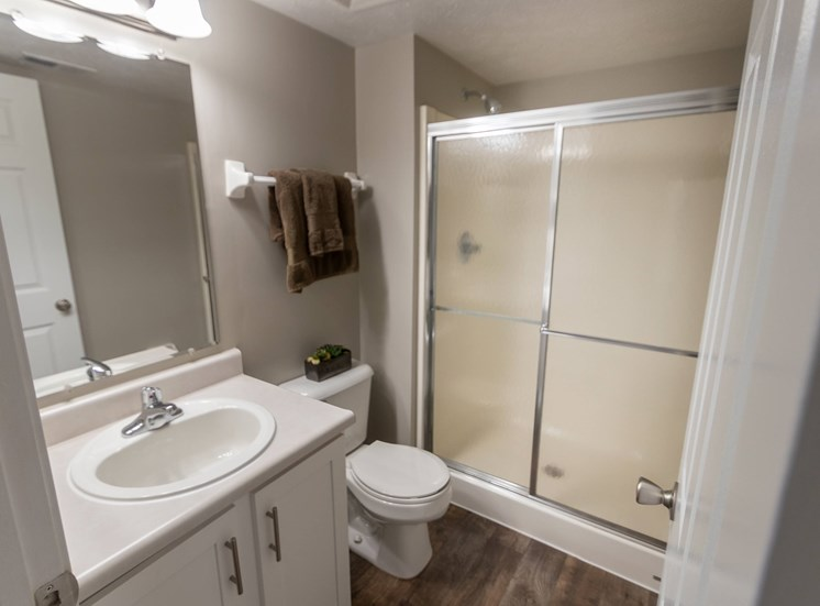 This is a photo of the master bathroom in the 1226 square foot 3 bedroom Hambletonian at Trails of Saddlebrook Apartments in Florence, KY.