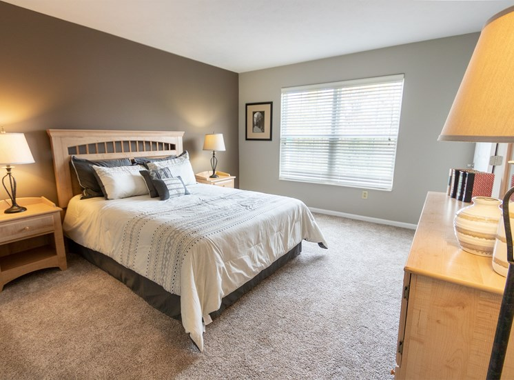 This is a photo of the master bedroom in the 1226 square foot 3 bedroom Hambletonian at Trails of Saddlebrook Apartments in Florence, KY.