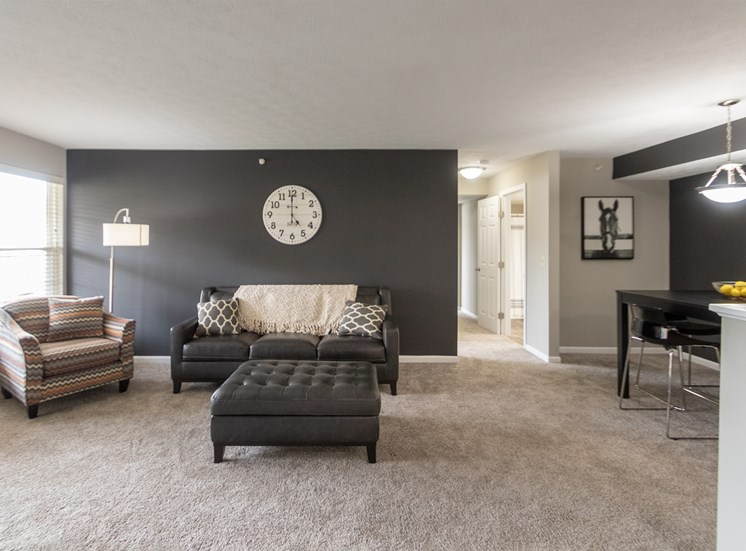 This is a photo of the living room in the 1226 square foot 3 bedroom Hambletonian at Trails of Saddlebrook Apartments in Florence, KY.