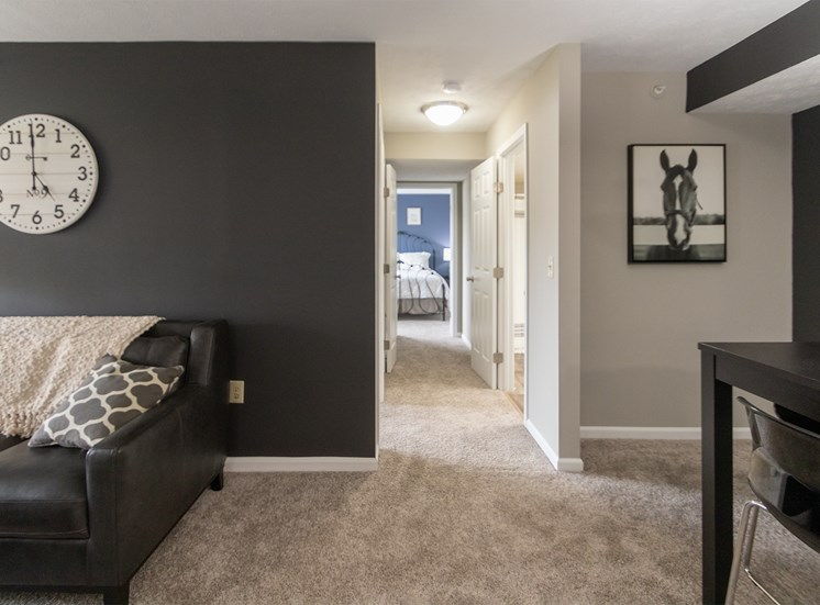 This is a photo of the hallway in the 1226 square foot 3 bedroom Hambletonian at Trails of Saddlebrook Apartments in Florence, KY.