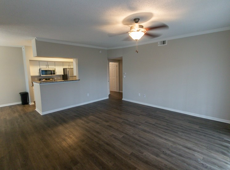 This is a photo of the living room in the 900 square foot 1 bedroom Haven floor plan at The Sanctuary at Fishers Apartments in Fishers, IN.