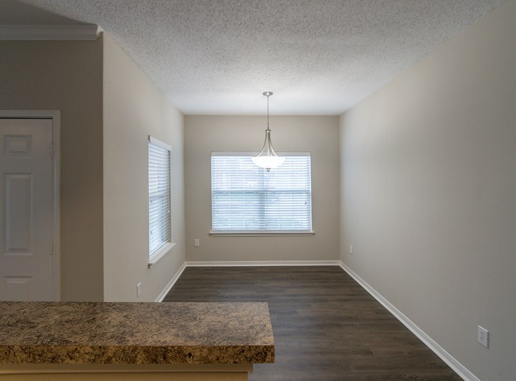 This is a photo of the dining room in the 900 square foot 1 bedroom Haven floor plan at The Sanctuary at Fishers Apartments in Fishers, IN.