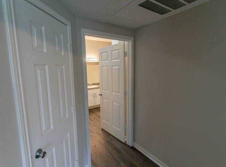 This is a photo of the hallway in the 900 square foot 1 bedroom Haven floor plan at The Sanctuary at Fishers Apartments in Fishers, IN.