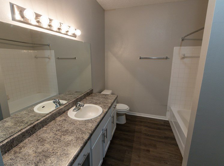 This is a photo of the bathroom in the 900 square foot 1 bedroom Haven floor plan at The Sanctuary at Fishers Apartments in Fishers, IN.