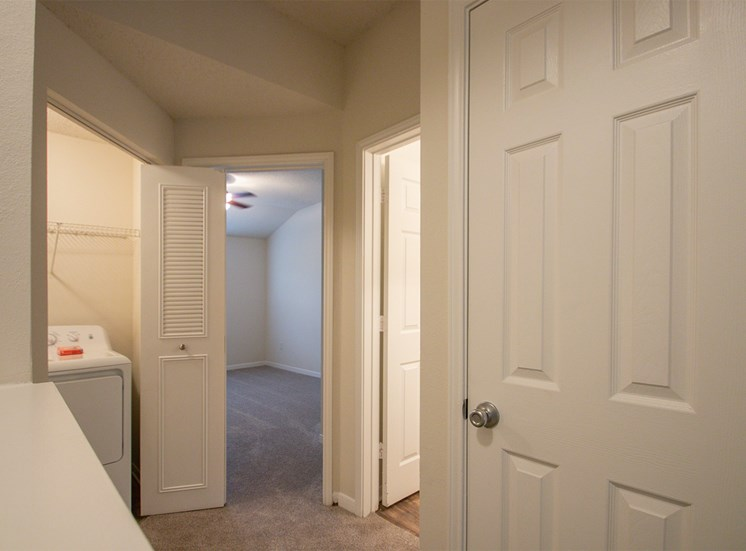 This is a photo of the hallway in the 1025 square foot 2 bedroom Tranquility floor plan at The Sanctuary at Fishers Apartments in Fishers, IN.