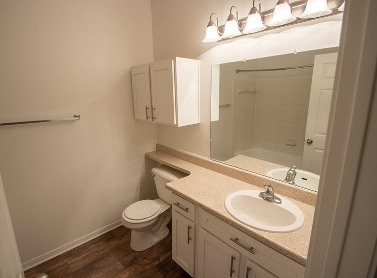 This is a photo of the bathroom in the 1025 square foot 2 bedroom Tranquility floor plan at The Sanctuary at Fishers Apartments in Fishers, IN.