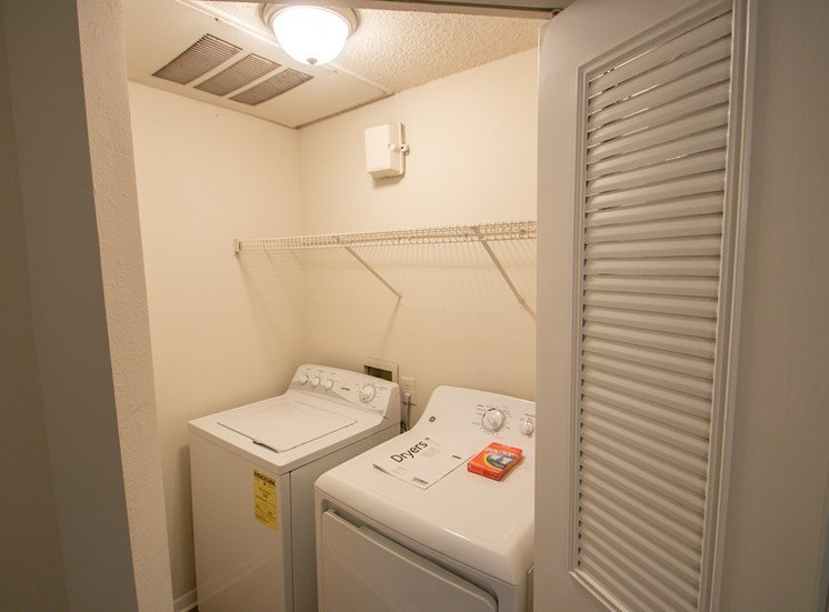 This is a photo of the washer and dryer closet in the 1025 square foot 2 bedroom Tranquility floor plan at The Sanctuary at Fishers Apartments in Fishers, IN.