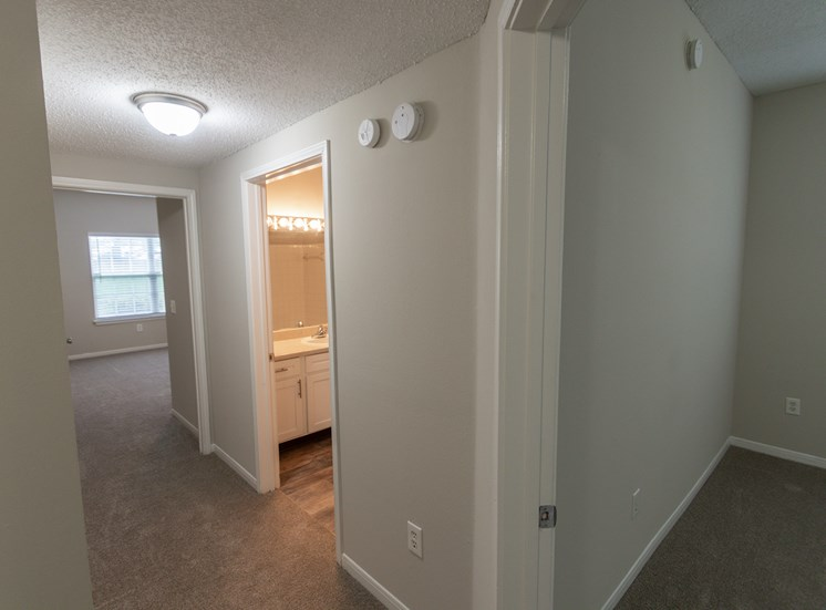 This is a photo of the hallway in the 1515 square foot 3 bedroom Zen floor plan at The Sanctuary at Fishers Apartments in Fishers, IN.