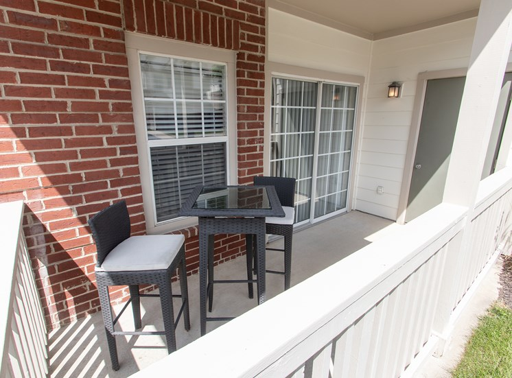This is a photo of the patio of the 1135 square foot 2 bedroom Retreat floor plan at The Sanctuary at Fishers Apartments in Fishers, IN.