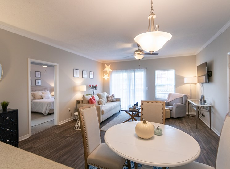 This is a photo of the dining area in the 1135 square foot 2 bedroom Retreat floor plan at The Sanctuary at Fishers Apartments in Fishers, IN.
