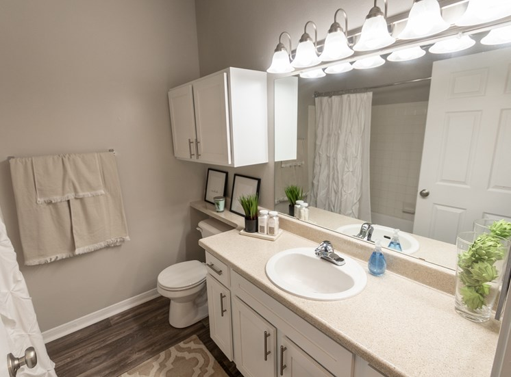 This is a photo of the bathroom in the 1135 square foot 2 bedroom Retreat floor plan at The Sanctuary at Fishers Apartments in Fishers, IN.