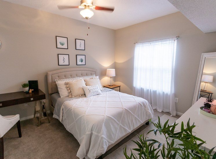 This is a photo of the master bedroom in the 1135 square foot 2 bedroom Retreat floor plan at The Sanctuary at Fishers Apartments in Fishers, IN.