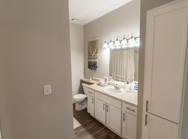 This is a photo of the master bathroom in the 1135 square foot 2 bedroom Retreat floor plan at The Sanctuary at Fishers Apartments in Fishers, IN.
