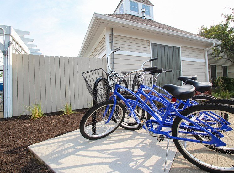 This is a photo of the Sanctuary Cycle Station (free for loan bikes) at The Sanctuary at Fishers in Fishers, IN.