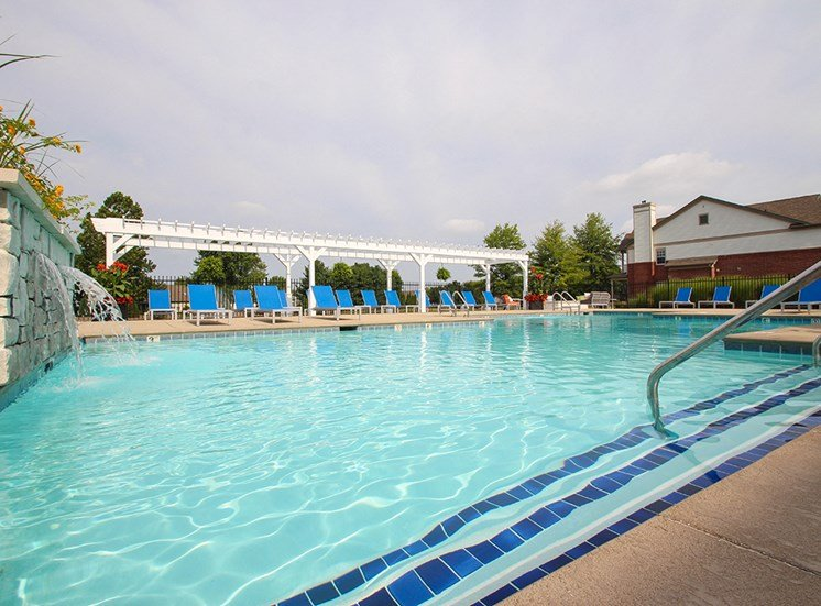 This is a photo of the swimming pool at the Sanctuary at Fishers Apartments in Fishers, IN.