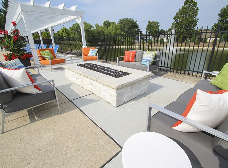 This is a photo of a fire pit in the pool area at the Sanctuary at Fishers Apartments in Fishers, IN.