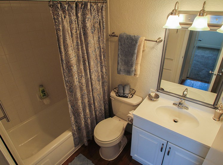 This is a photo of the bathroom in a 558 square foot 1 bedroom apartment at The Summit at Midtown Apartments in Dallas, TX.