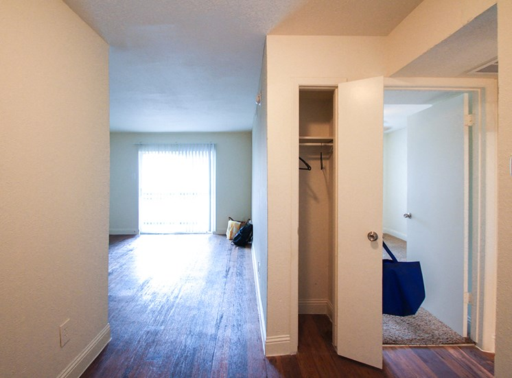 This is a photo of the linen closet in a 558 square foot 1 bedroom apartment at The Summit at Midtown Apartments in Dallas, TX.
